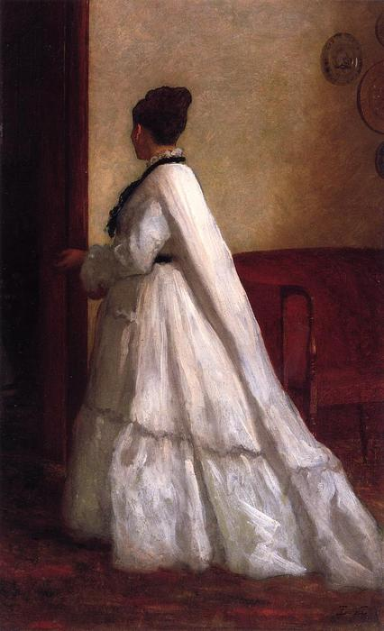 Woman in a White Dress by Jonathan Eastman Johnson (1824-1906, United Kingdom)