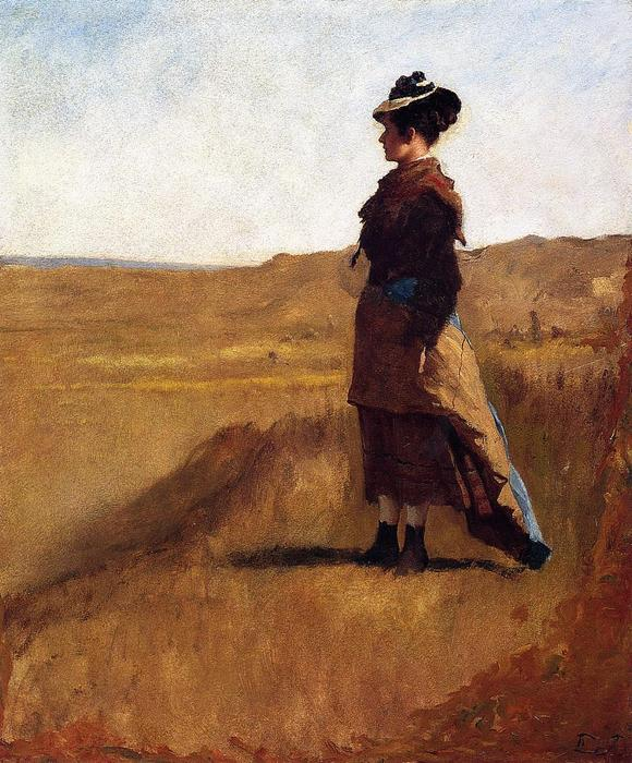 Woman on a Hill by Jonathan Eastman Johnson (1824-1906, United Kingdom) | Oil Painting | WahooArt.com
