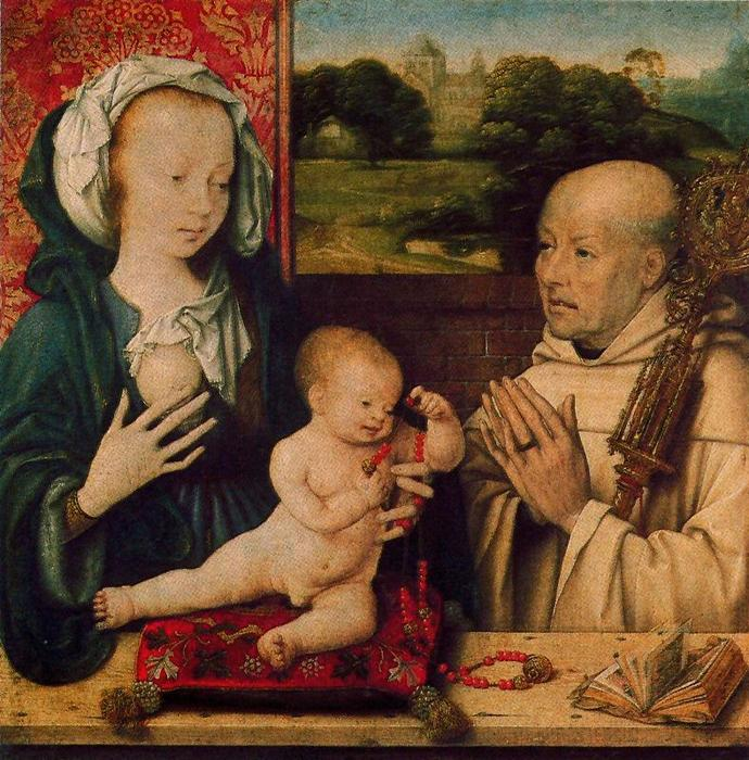 The Virgin and Child with a Dominican by Joos Van Cleve (1485-1540, Germany) | Famous Paintings Reproductions | WahooArt.com