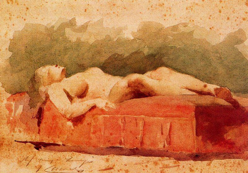 Female Nude by Josep Cusachs I (1851-1908, France) | Paintings Reproductions Josep Cusachs I | WahooArt.com