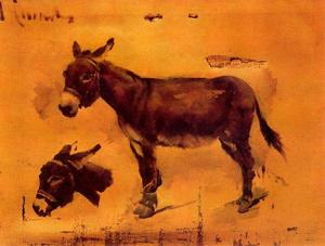 Buy Museum Art Reproductions | Studies Of Donkeys by Josep Cusachs I (1851-1908, France) | WahooArt.com