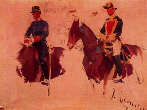 Order Famous Paintings Reproductions : Uniform Sketches by Josep Cusachs I (1851-1908, France) | WahooArt.com