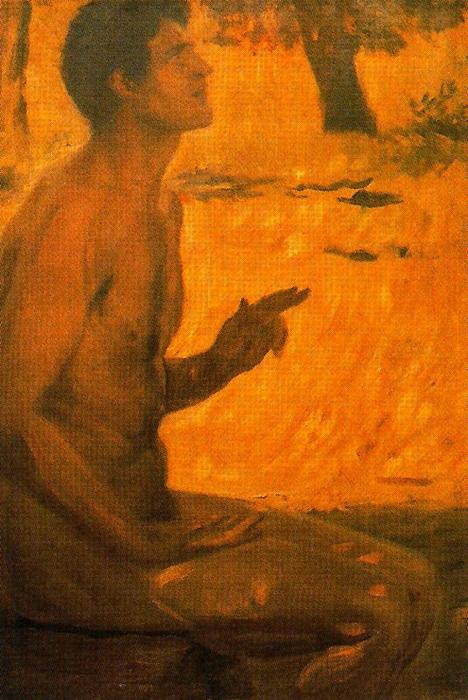 Male Nude. (Study For''the Decalogue'') by José Villegas Cordero (1844-1921, Spain)