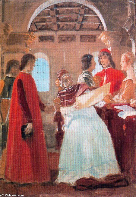 Pinturicchio Presenting Borgia Pope The Projects Of The Rooms by José Villegas Cordero (1844-1921, Spain)