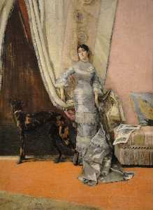 José Villegas Cordero - Portrait Of Lucia Monti With Dog