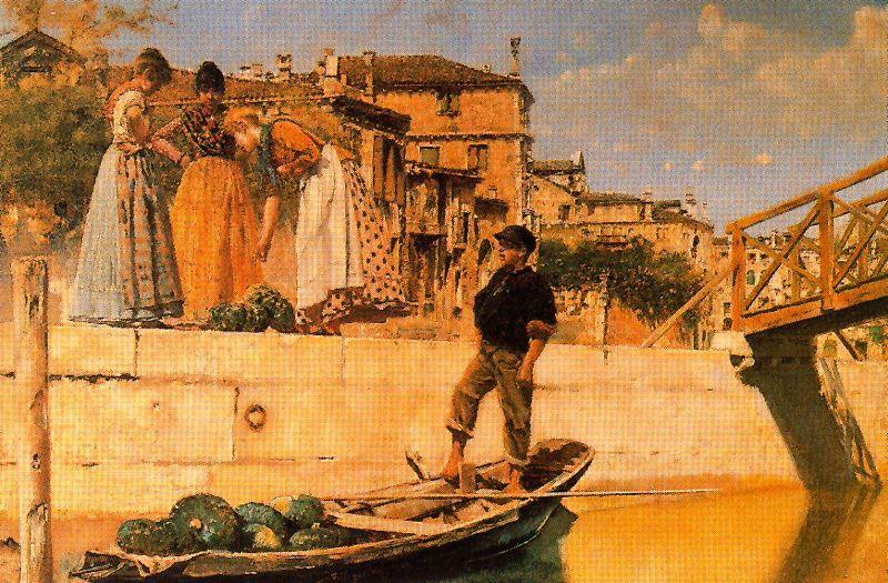 Talk By The Canal by José Villegas Cordero (1844-1921, Spain) | Famous Paintings Reproductions | WahooArt.com