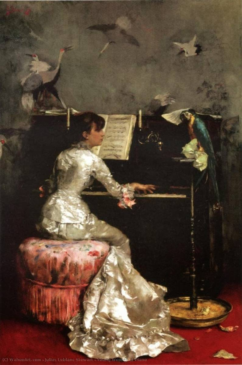 Young Woman at Piano, Oil On Panel by Julius Leblanc Stewart (1855-1919, United States)