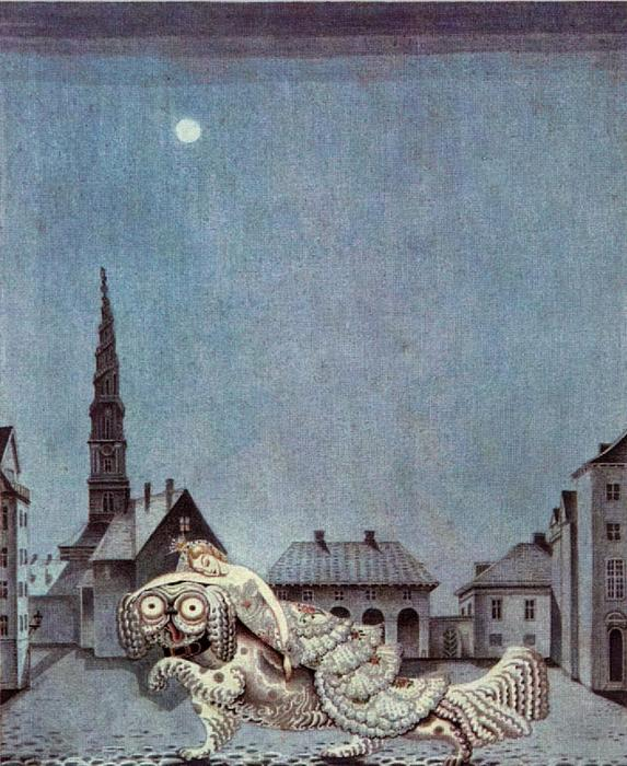 The Tinder Box. The dog ran with the princess on his back by Kay Rasmus Nielsen (1886-1957, Denmark)