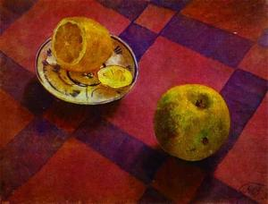 Order Reproductions | Apple and lemon, 1930 by Kuzma Petrov-Vodkin (1878-1939, Russia) | WahooArt.com