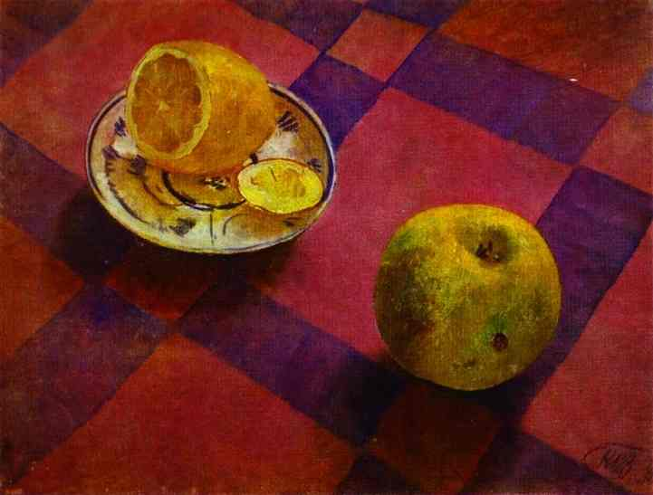 Apple and lemon, 1930 by Kuzma Petrov-Vodkin (1878-1939, Russia) | Reproductions Kuzma Petrov-Vodkin | WahooArt.com