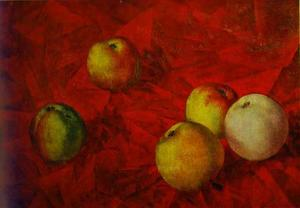 Kuzma Petrov-Vodkin - Apples on a Red Cloth