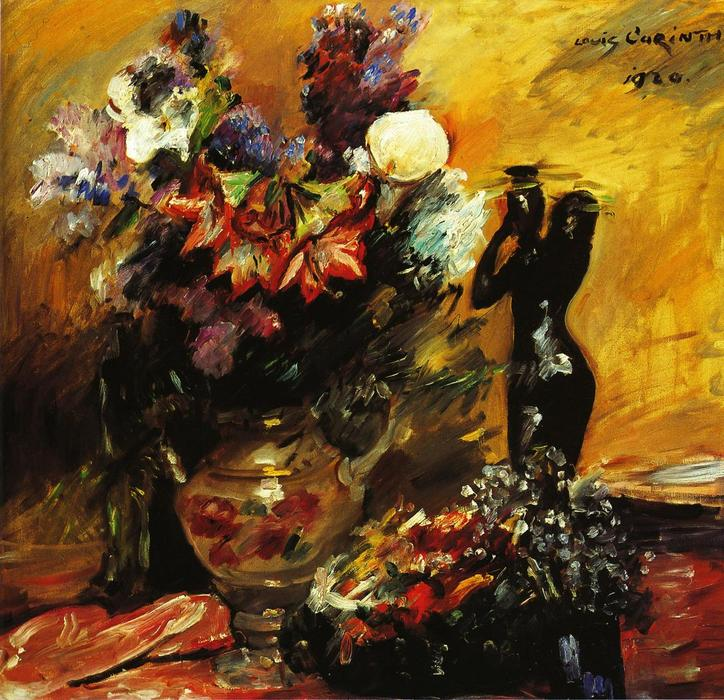 Cala lilies andn Lilacs with a Bronze Figurine by Lovis Corinth (Franz Heinrich Louis) (1858-1925, Netherlands)