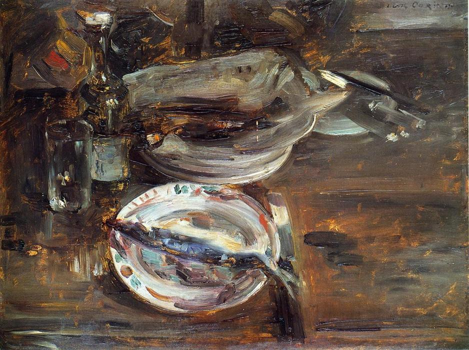Cat's Breakfast, Oil On Panel by Lovis Corinth (Franz Heinrich Louis) (1858-1925, Netherlands)