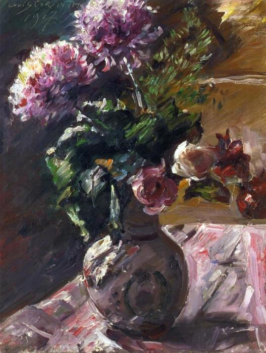 Chrysanthemums and Roses in a Jug, Oil On Canvas by Lovis Corinth (Franz Heinrich Louis) (1858-1925, Netherlands)