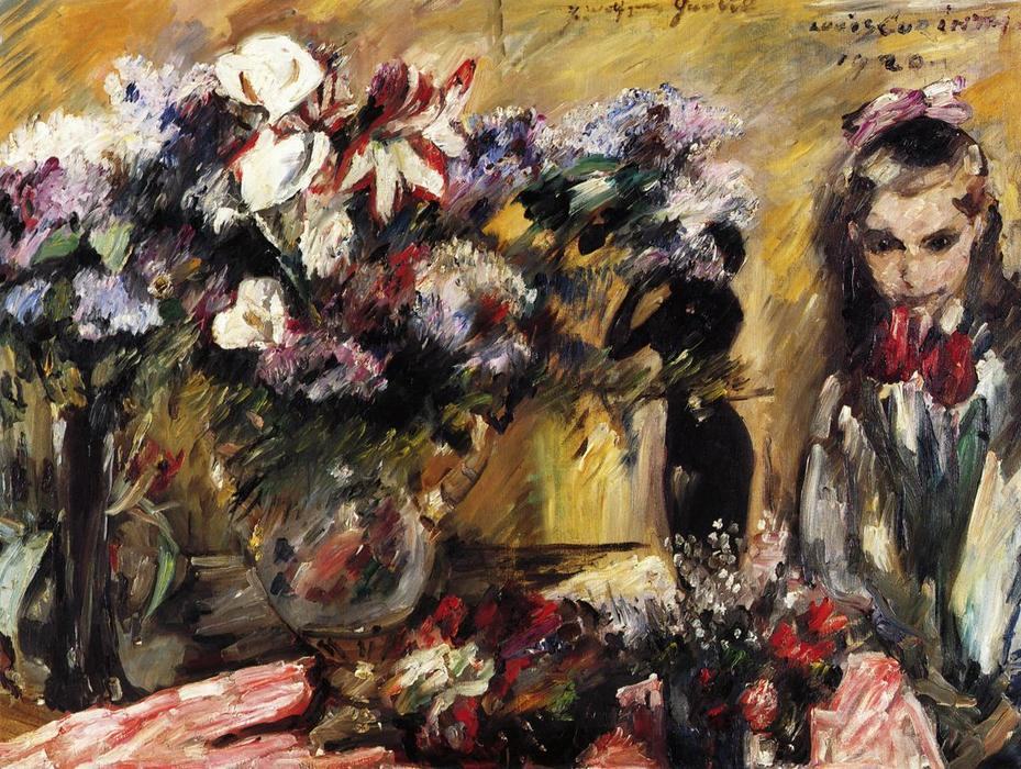 Flowers and Wilhelmine, Oil On Canvas by Lovis Corinth (Franz Heinrich Louis) (1858-1925, Netherlands)