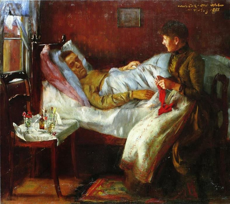 Franz Heinrich Corinth on His Sickbed, 1888 by Lovis Corinth (Franz Heinrich Louis) (1858-1925, Netherlands) | Famous Paintings Reproductions | WahooArt.com