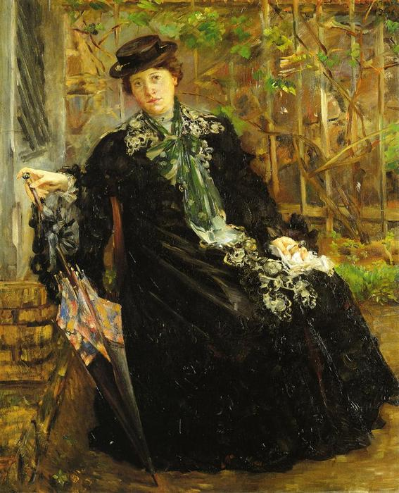 In a Black Coat, Oil On Canvas by Lovis Corinth (Franz Heinrich Louis) (1858-1925, Netherlands)