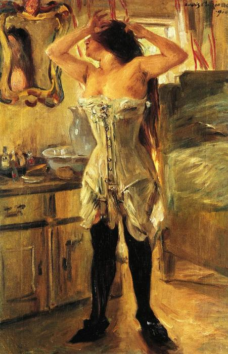 In a Corset, Oil On Canvas by Lovis Corinth (Franz Heinrich Louis) (1858-1925, Netherlands)