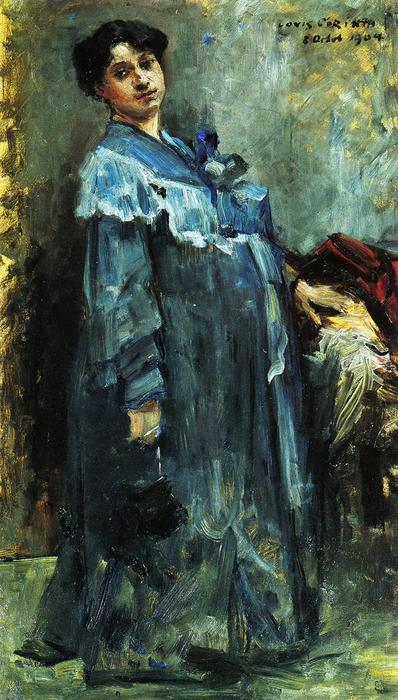 In a Silk Robe, Oil On Panel by Lovis Corinth (Franz Heinrich Louis) (1858-1925, Netherlands)