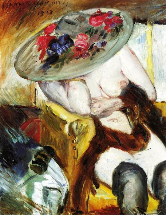 Italian Woman in a Yellow Chair, 1912 by Lovis Corinth (Franz Heinrich Louis) (1858-1925, Netherlands) | Oil Painting | WahooArt.com