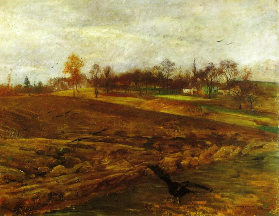 Large Landscape with Ravens, Oil On Canvas by Lovis Corinth (Franz Heinrich Louis) (1858-1925, Netherlands)