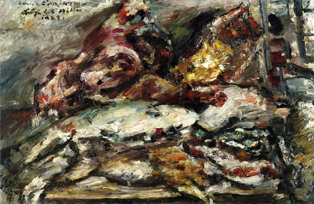 Meat and Fish at Hiller's Berlin, Oil On Canvas by Lovis Corinth (Franz Heinrich Louis) (1858-1925, Netherlands)