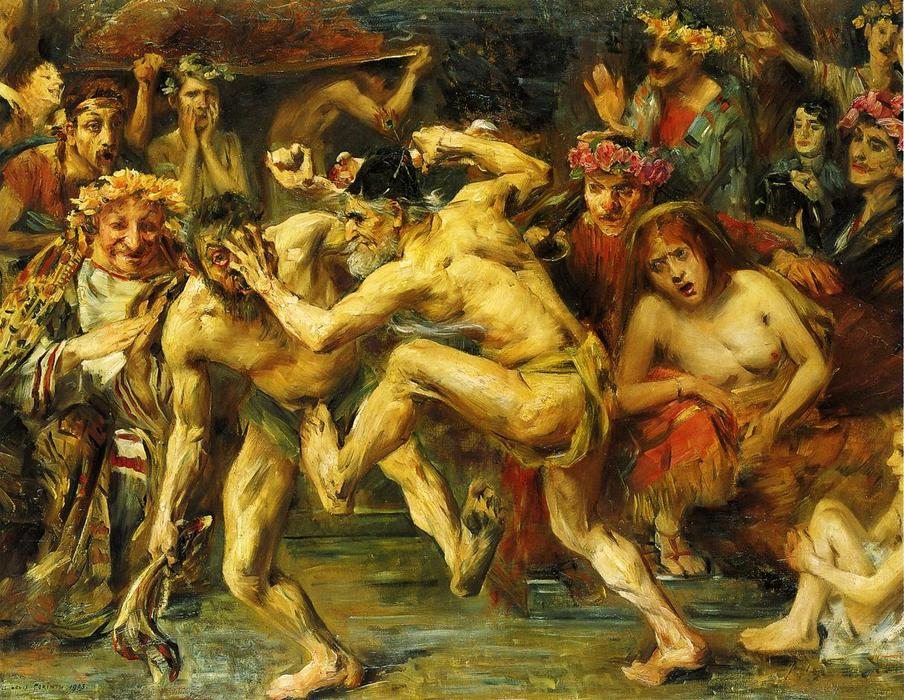Odysseus Fighting with the Beggar, Oil On Canvas by Lovis Corinth (Franz Heinrich Louis) (1858-1925, Netherlands)