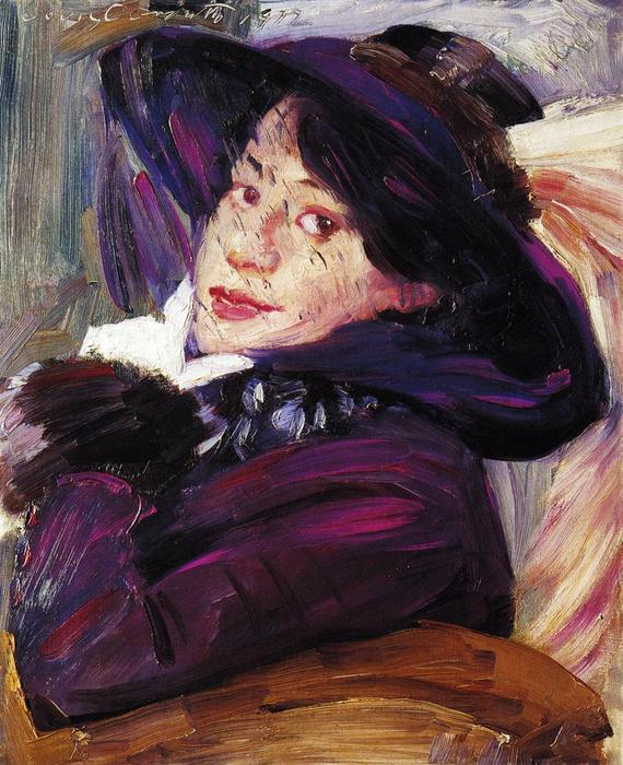Portrait of a Woman in a Purple Hat, Oil On Canvas by Lovis Corinth (Franz Heinrich Louis) (1858-1925, Netherlands)