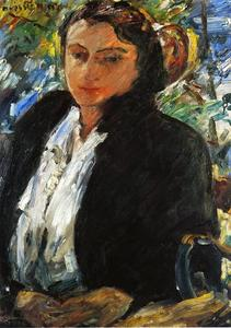 Lovis Corinth (Franz Heinrich Louis) - Portrait of Charlotte Berene-Corinth in a Green Velvet Jacket