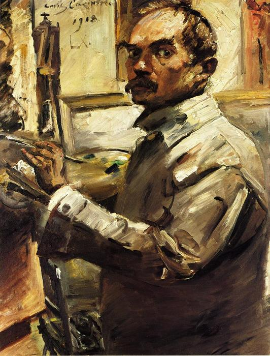 Self Portrait in a White Smock, 1918 by Lovis Corinth (Franz Heinrich Louis) (1858-1925, Netherlands) | Painting Copy | WahooArt.com