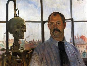 Lovis Corinth (Franz Heinrich Louis) - Self Portrait with Skeleton