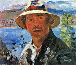 Lovis Corinth (Franz Heinrich Louis) - Self Portrait with Straw Hat
