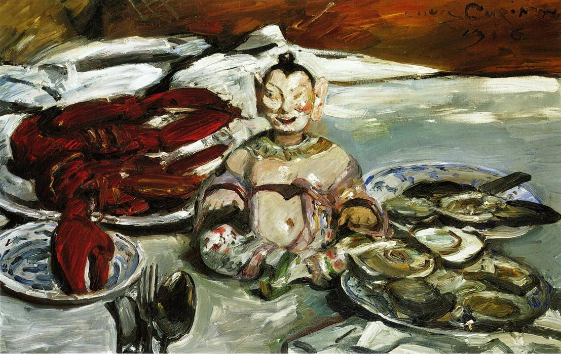 Still Life with Buddha, Lobsters and Oysters, 1916 by Lovis Corinth (Franz Heinrich Louis) (1858-1925, Netherlands) | Museum Quality Reproductions | WahooArt.com