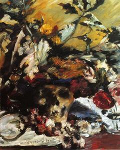 Lovis Corinth (Franz Heinrich Louis) - Still Life with Flowers, Skull and Oak Leaves