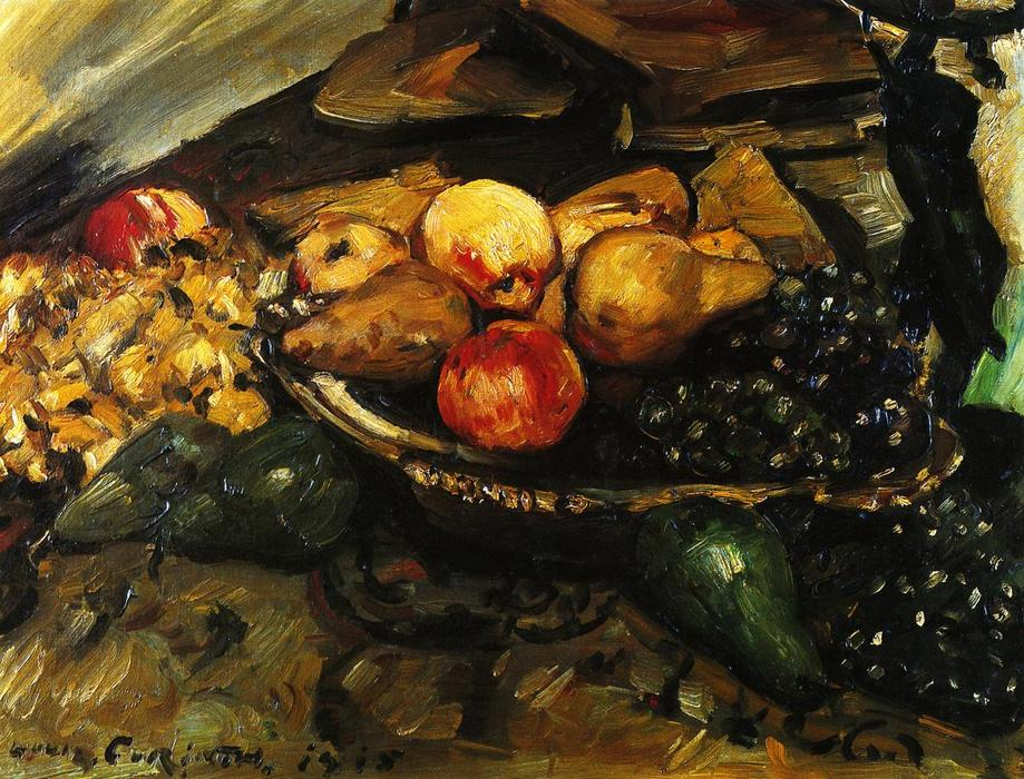 Still Life with Fruit and Wine Glass, Oil On Canvas by Lovis Corinth (Franz Heinrich Louis) (1858-1925, Netherlands)
