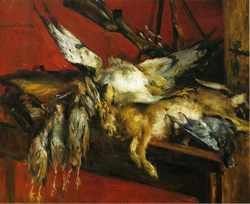 Still Life with Hare and Partridges, Oil On Canvas by Lovis Corinth (Franz Heinrich Louis) (1858-1925, Netherlands)