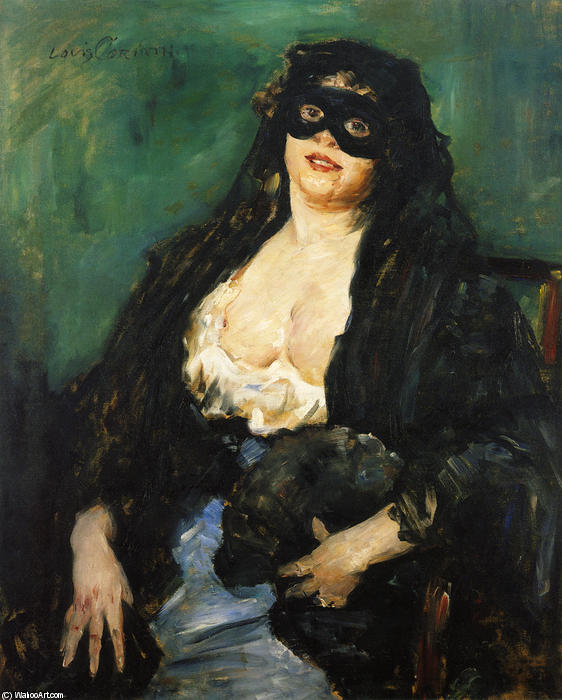 Order Art Reproductions | The Black Mask by Lovis Corinth (Franz Heinrich Louis) (1858-1925, Netherlands) | WahooArt.com