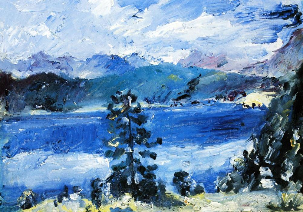 The Walchensee with a Larch Tree, 1921 by Lovis Corinth (Franz Heinrich Louis) (1858-1925, Netherlands) | Painting Copy | WahooArt.com