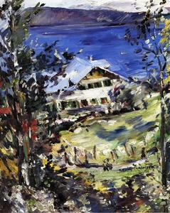 Lovis Corinth (Franz Heinrich Louis) - The Walchensee, Country House with Washing on the Line
