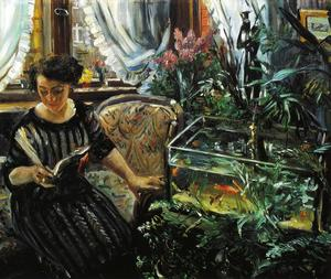 Woman by a Goldfish Tank, Oil On Canvas by Lovis Corinth  (order Fine Art Hand Painted Oil Painting Lovis Corinth (Franz Heinrich Louis))