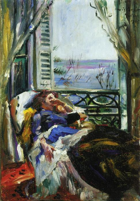 Woman in a Deck Chair by the Window, Oil On Canvas by Lovis Corinth (Franz Heinrich Louis) (1858-1925, Netherlands)