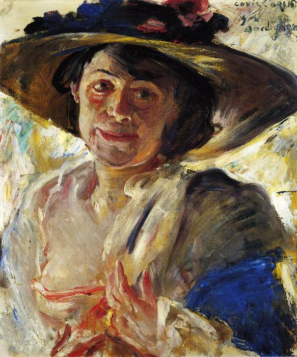 Woman in a Hat with Roses, Oil On Canvas by Lovis Corinth (Franz Heinrich Louis) (1858-1925, Netherlands)