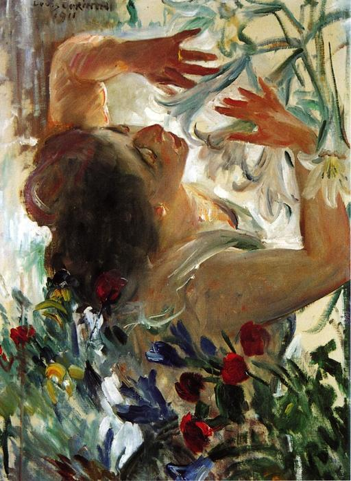 Woman with Lilies in a Greenhouse, Oil On Canvas by Lovis Corinth (Franz Heinrich Louis) (1858-1925, Netherlands)