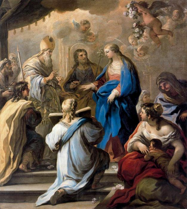 Marriage of the Virgin by Luca Giordano (1634-1705, Italy) | Painting Copy | WahooArt.com
