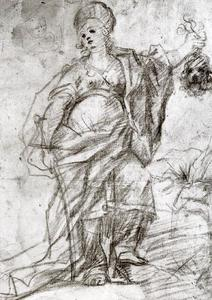 Luca Giordano - Study for the figure of Judith