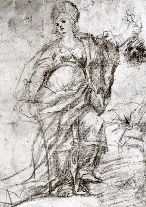 Study for the figure of Judith by Luca Giordano (1634-1705, Italy) | Reproductions Luca Giordano | WahooArt.com