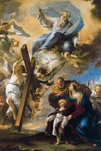 Luca Giordano - The Holy Family has a vision of the symbols of the Passion