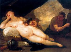 Luca Giordano - Venus and Cupid with a Satyr dormant