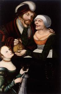Lucas Cranach The Younger - Ill-Matched Couple. Young Man and Old Woman with a Maid
