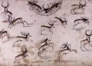 Lucas Cranach The Younger - Study for a wall decoration with stags